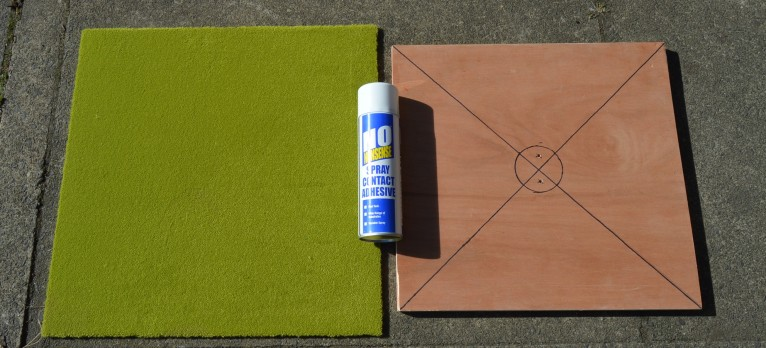Carpet tile, Wooden Base and Carpet Adhesive.